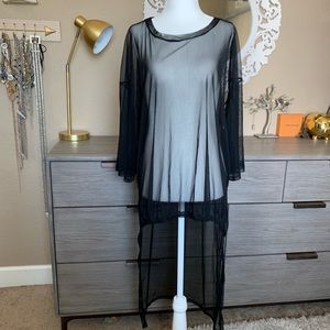 Zara black mesh blouse